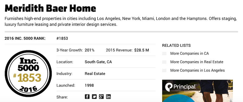 Salary Rank For Interior Design Furniture Miami ~ Meridith baer home in inc magazine s fastest growing