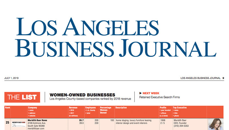 Meridith Baer Home on Los Angeles Business Journal's Women-Owned Businesses List for 2020